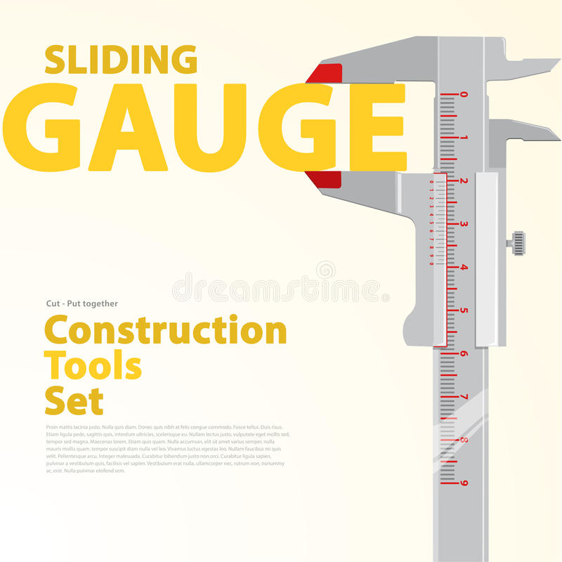 Calibre de précision noir et blanc de glissement Ensemble jaune et orange de typographie d'outils de construction de fil illustration de vecteur