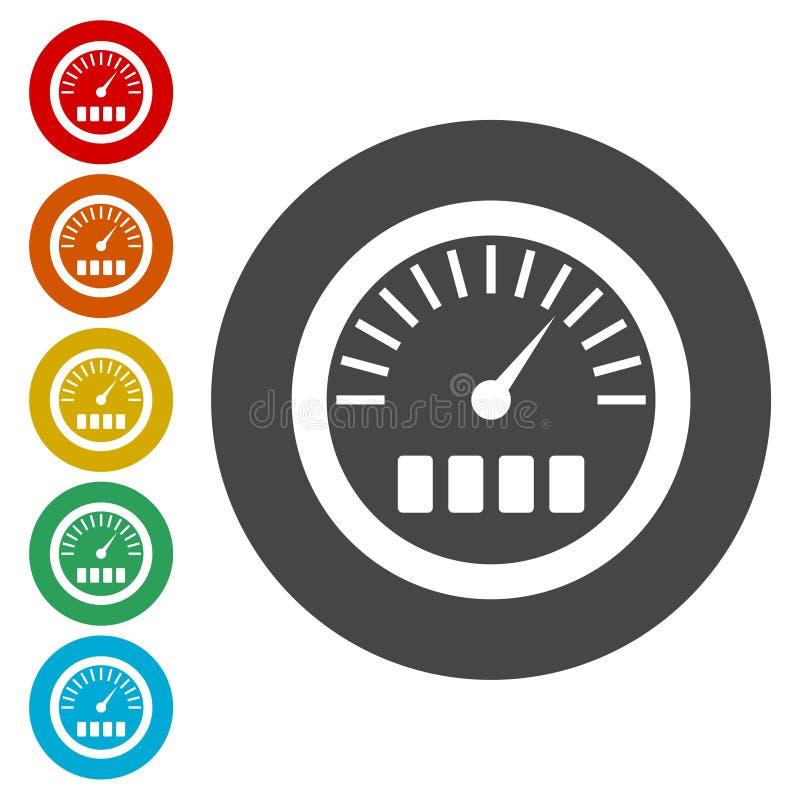 Calibre de pressão, ícone do manômetro, ícone do medidor da pressão ilustração do vetor