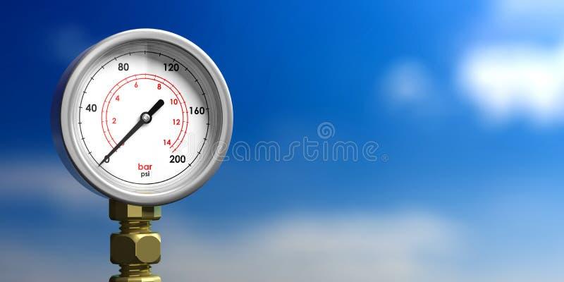 Calibre de pressão industrial no fundo do céu azul do borrão, vista dianteira, espaço da cópia ilustração 3D ilustração stock