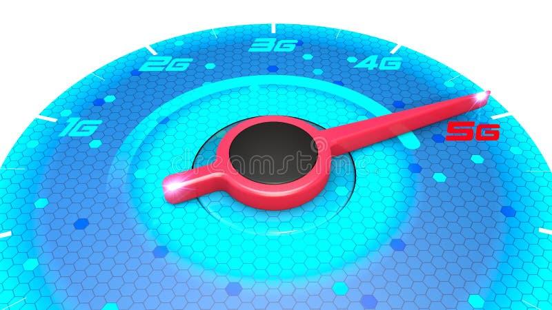 Calibre de pressão, medidor de velocidade, teste de velocidade, velocidade do Internet e conexão 5G As novas tecnologias, explora ilustração royalty free