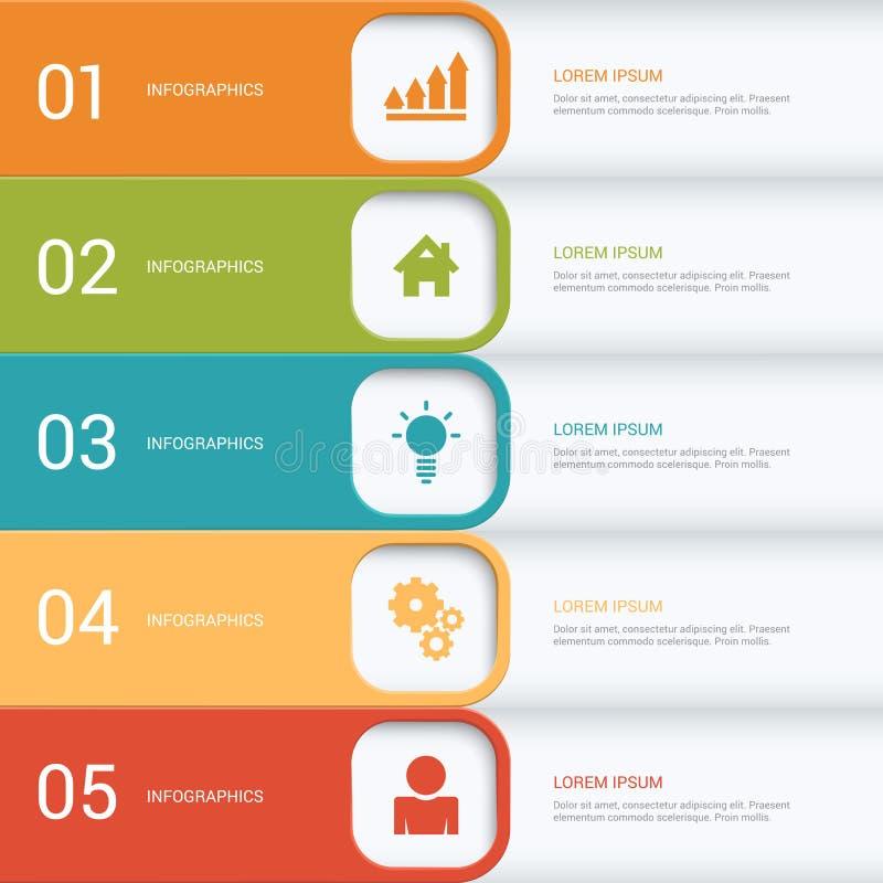 Calibre de processus de maquette d'infographics de vecteur de labels d'étapes illustration stock