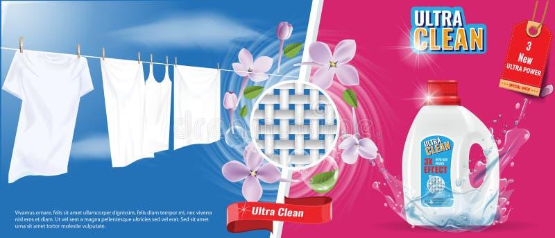 Calibre de publicité de détergent de blanchisserie avec l'effet d'éclaboussure de l'eau, les vêtements blancs et les fleurs genti illustration stock