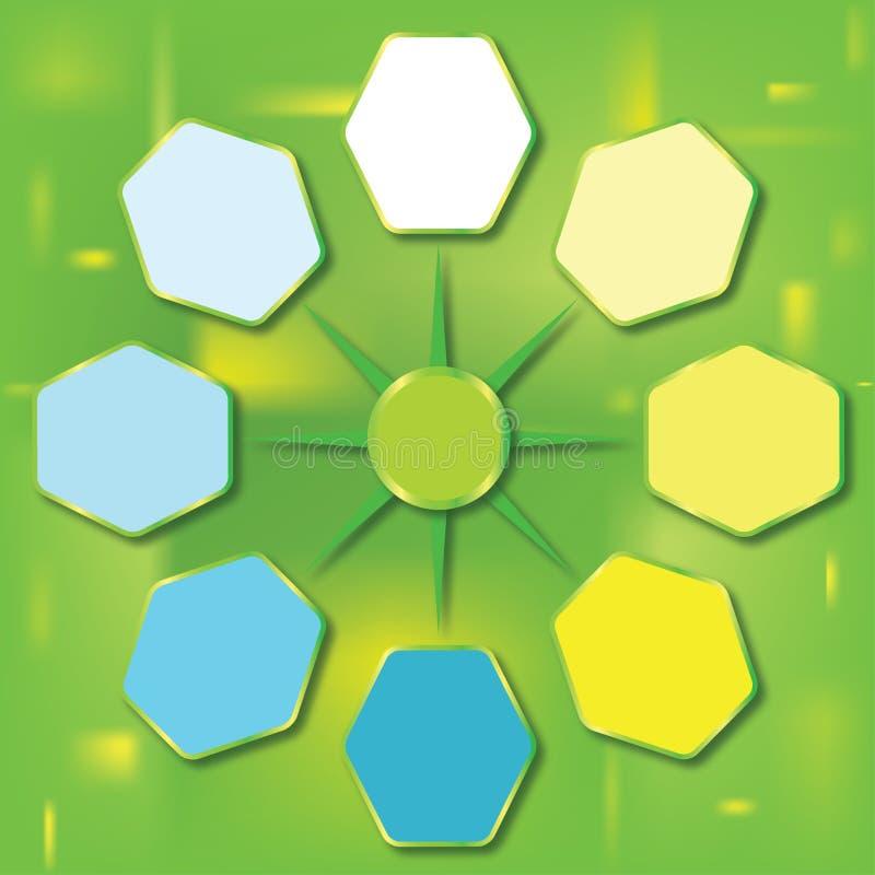 Calibre de rapport de couleur avec des hexagones illustration stock