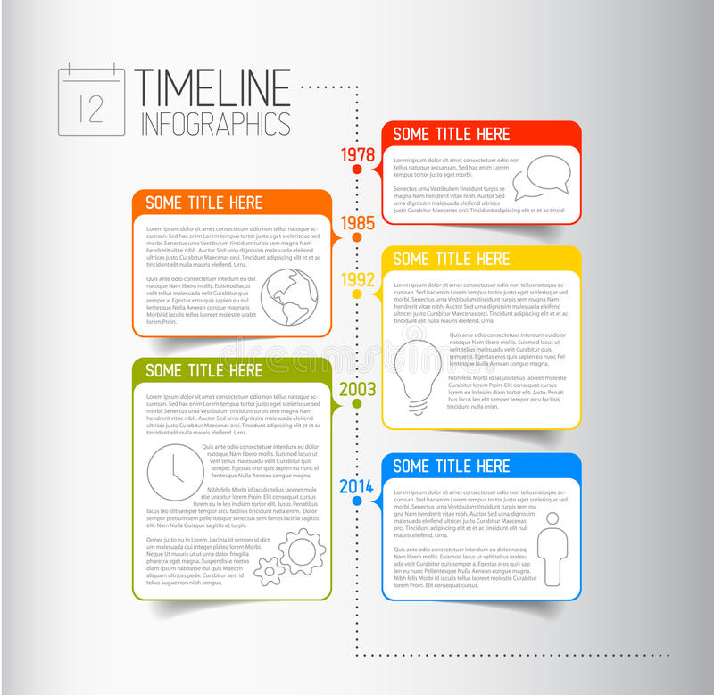 Calibre de rapport de chronologie d'Infographic avec les bulles descriptives illustration stock