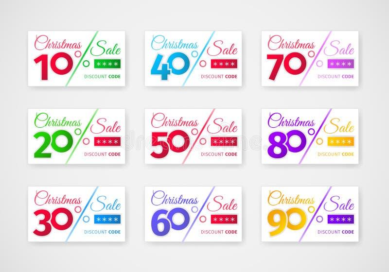 Calibre de remises de vente de Noël Placez des bons avec différents pourcentages illustration libre de droits