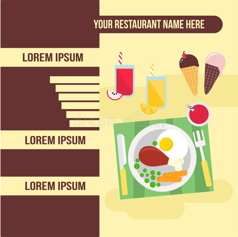 Calibre de restaurant de menu avec l'illustration de nourriture illustration de vecteur