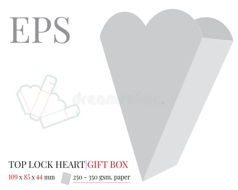 Calibre de sac de cadeau de coeur Vecteur avec les lignes d?coup?/de laser avec des matrices coupe Blanc, clair, blanc, moquerie  illustration stock