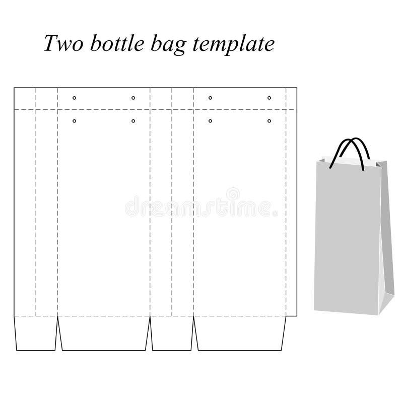 Calibre de sac de deux bouteilles, vecteur, d'isolement sur le fond blanc illustration libre de droits