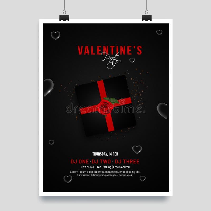 Calibre de Saint-Valentin ou design de carte d'invitation illustration de vecteur