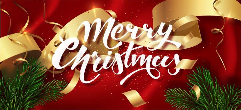 Calibre de salutation de design de carte de vacances d'hiver de Joyeux Noël Le lettrage calligraphique de nouvelle année a décoré illustration stock