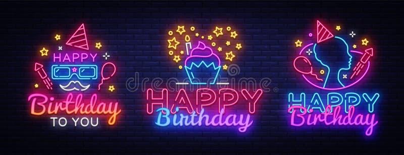 Calibre de scénographie d'enseignes au néon de joyeux anniversaire Grandes cartes de voeux de joyeux anniversaire de collection,  illustration de vecteur