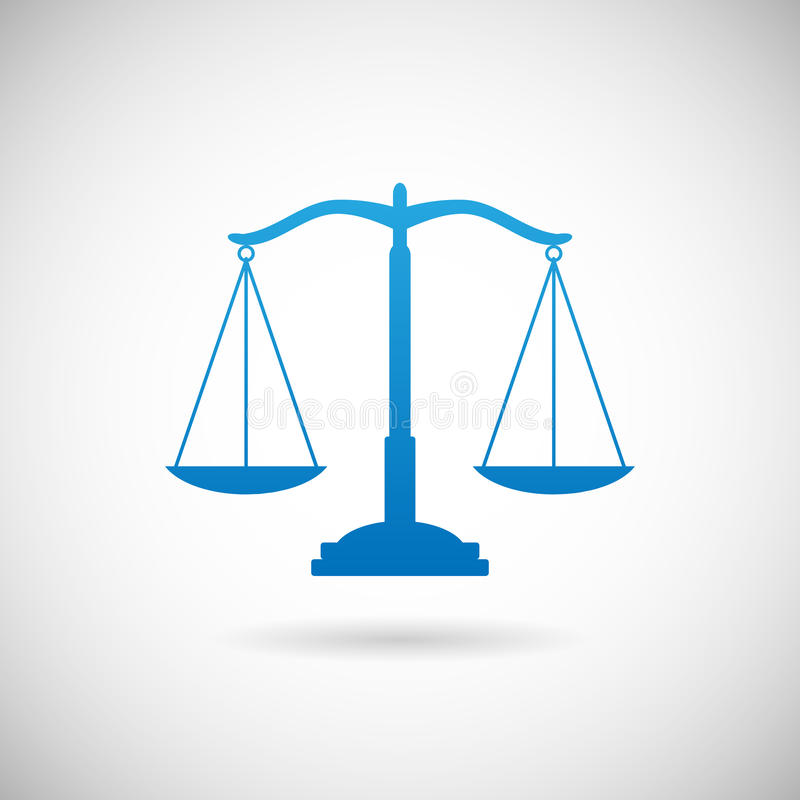 Calibre de Scales Icon Design de justice de symbole de loi sur l'illustration de vecteur de Grey Background illustration libre de droits