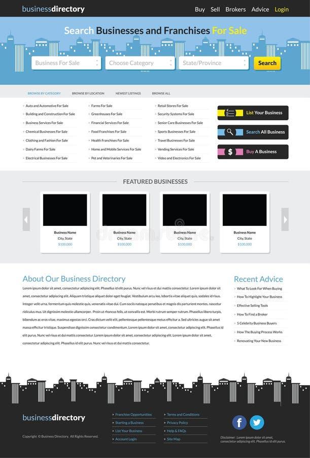 Calibre de site Web d'annuaire commercial illustration stock