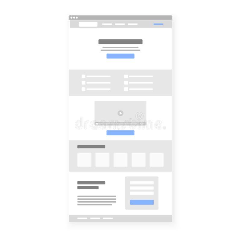 Calibre de structure de page d'atterrissage Appel au bleu sélectionné par bouton d'action Illustration de vecteur illustration libre de droits