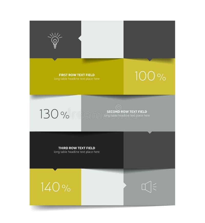 Calibre de Tableau Table de programme Tableau 3d Table d'affaires Table de brochure, programme illustration stock