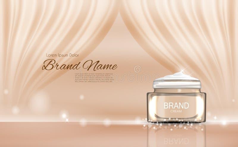 Calibre de tube de bouteille de crème de visage pour les annonces ou le fond de magazine 3D vecteur réaliste Iillustration illustration libre de droits