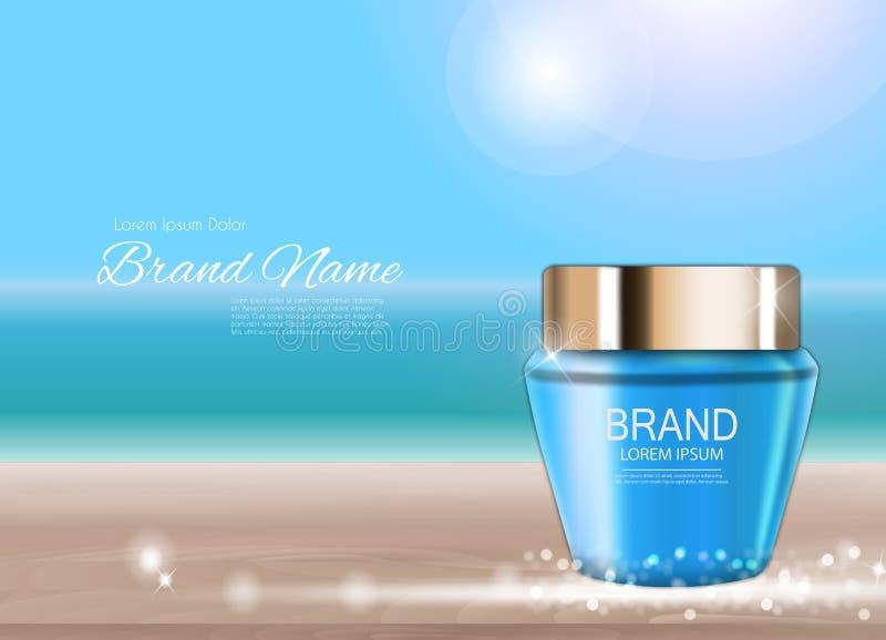 Calibre de tube de bouteille de crème de visage pour les annonces ou le fond de magazine 3D vecteur réaliste Iillustration illustration stock
