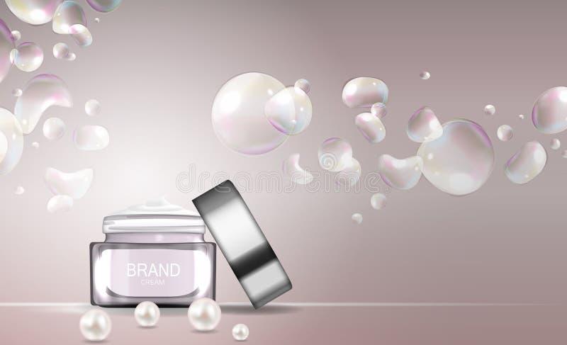 Calibre de tube de bouteille de crème de visage pour les annonces ou le fond de magazine illustration libre de droits