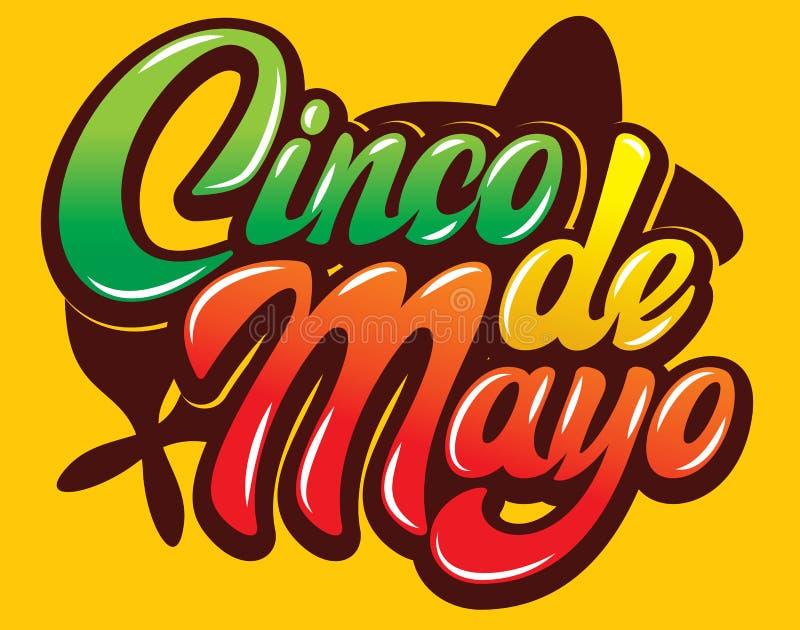Calibre de vecteur avec le lettrage calligraphique pour la célébration Cinco de Mayo illustration de vecteur
