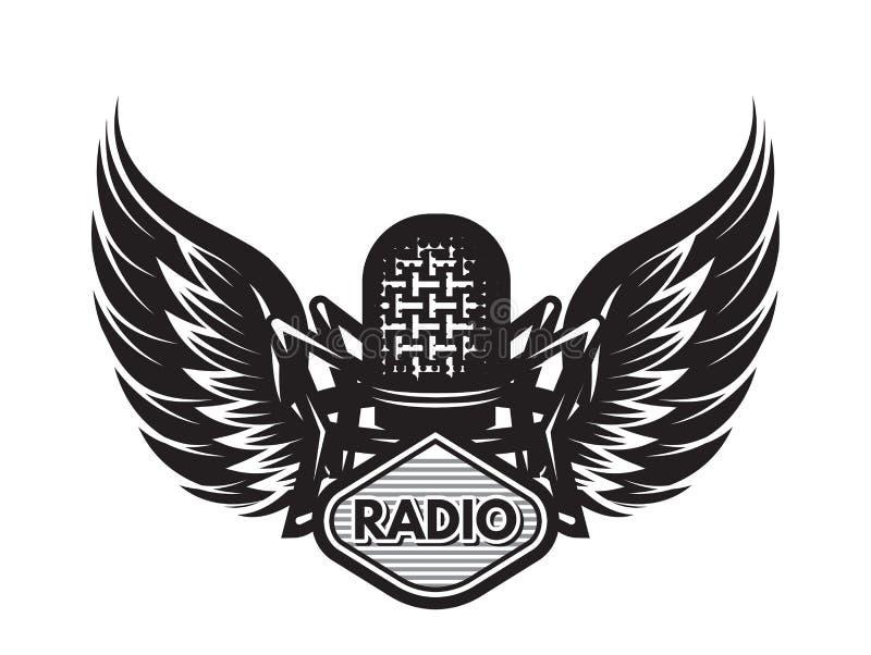 Calibre de vecteur avec le microphone et les ailes sur le thème musical illustration stock