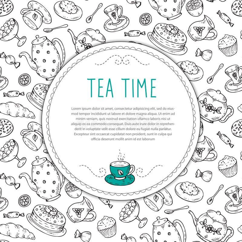 Calibre de vecteur avec les éléments tirés par la main de griffonnage de croquis de thé illustration libre de droits
