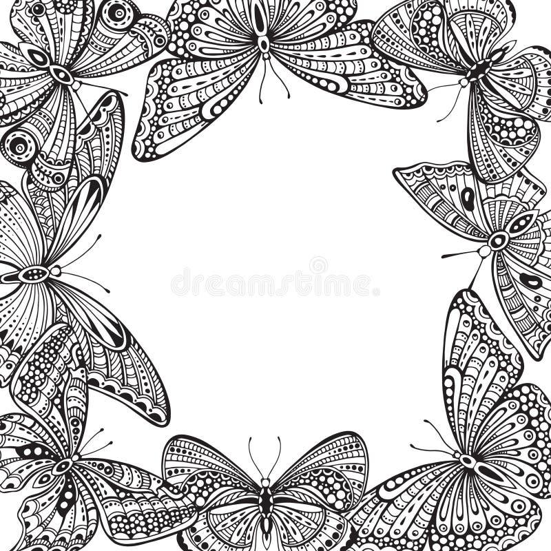 Calibre de vecteur avec les papillons tirés par la main de griffonnage fleuri illustration stock