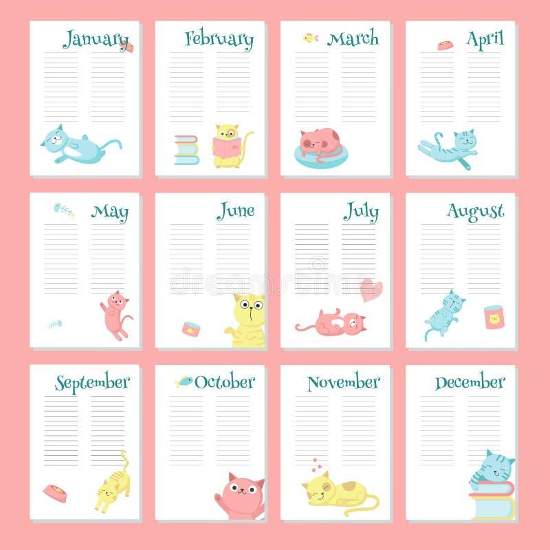 Calibre de vecteur de calendrier de planificateur avec les chats mignons illustration stock