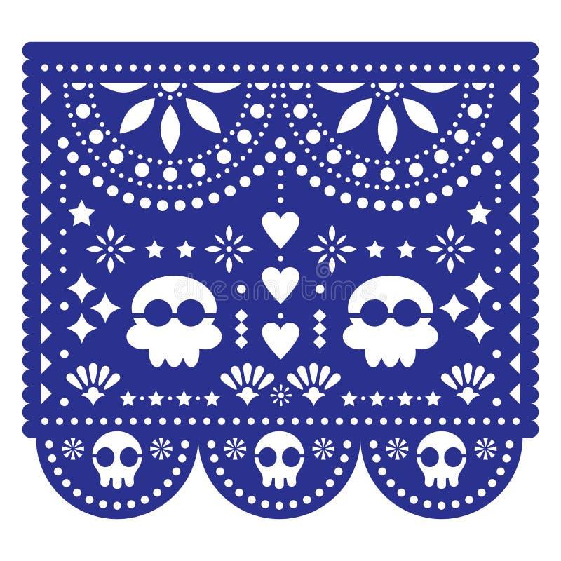 Calibre de vecteur de carte de voeux d'invitation ou de mariage de Papel Picado - décoration coupée de papier mexicaine sans le t illustration de vecteur