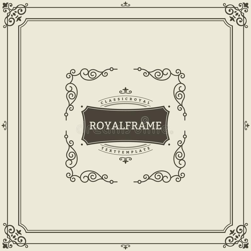 Calibre de vecteur de carte de voeux d'ornement de vintage Rétro invitation de luxe, certificat royal Cadre de Flourishes cru illustration libre de droits