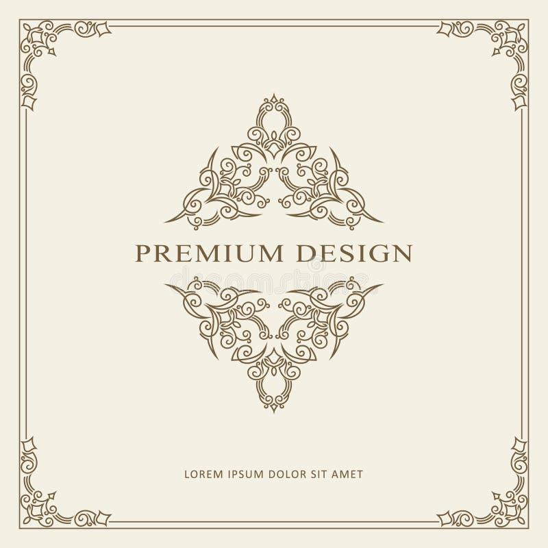 Calibre de vecteur de carte de voeux d'ornement de vintage Rétro invitation de luxe, certificat royal Cadre de Flourishes Fond de illustration de vecteur