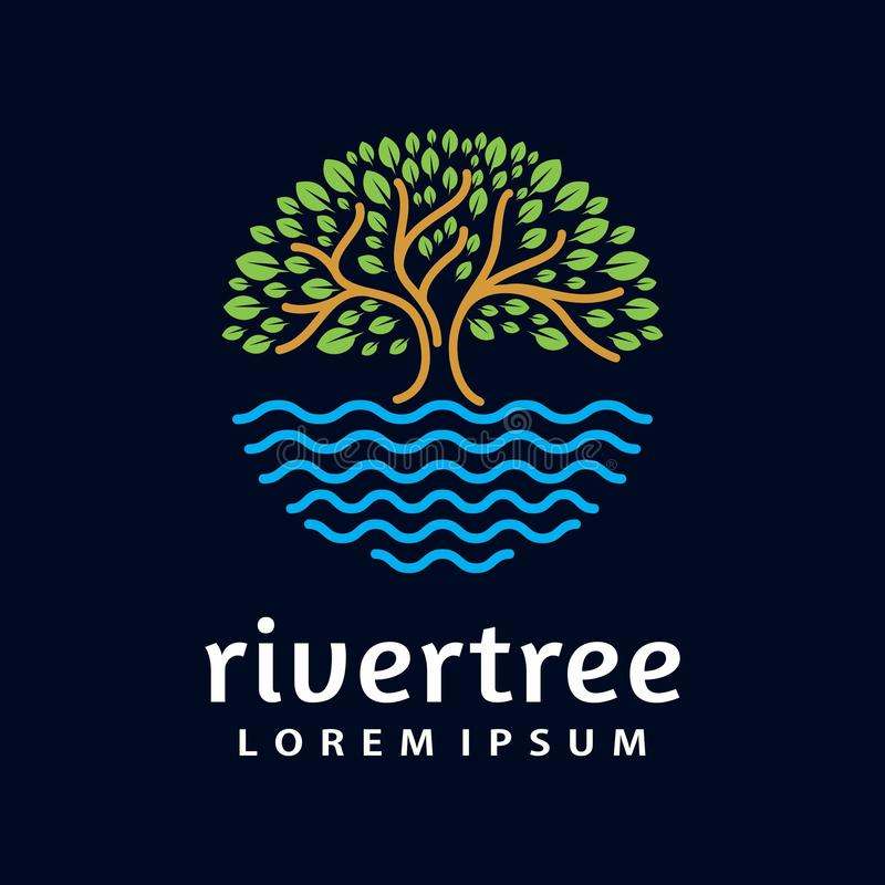 Calibre de vecteur de conception de forme de cercle de logo d'arbre de rivière illustration stock
