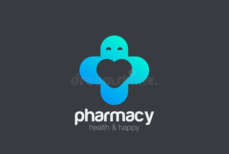 Calibre de vecteur de conception de logo de croix de clinique médicale de pharmacie comme homme avec le coeur à l'intérieur Icône illustration stock