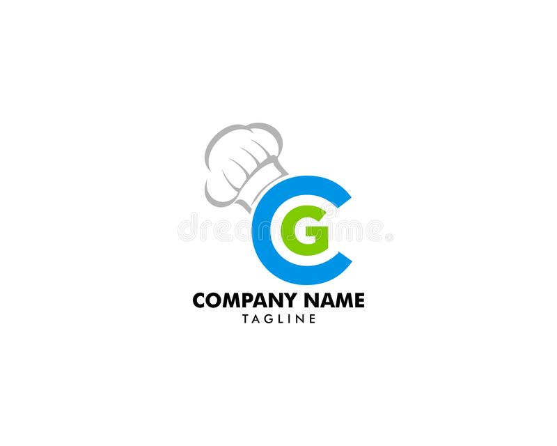 Calibre de vecteur d'icône de logo de chapeau de lettre et de chef de CG. illustration stock