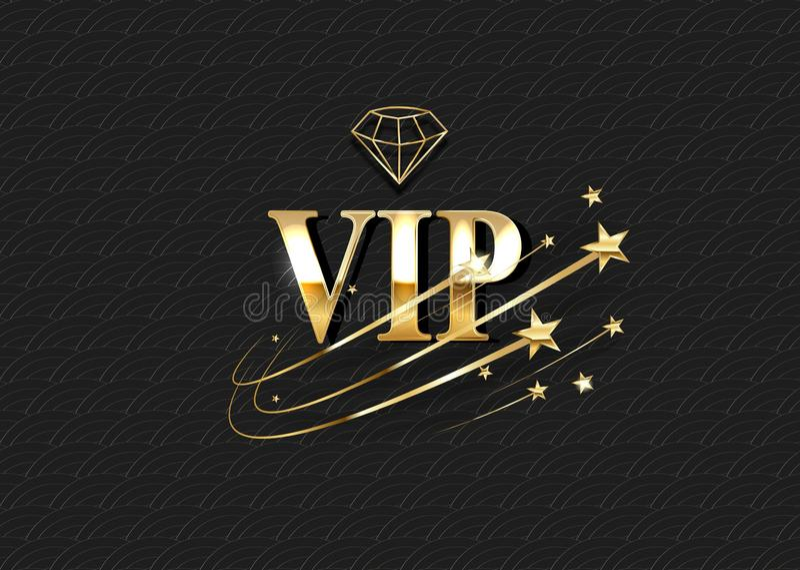 Calibre de vecteur d'invitation de club de VIP Logo 3d de luxe avec le cadre d'or de gradient illustration libre de droits
