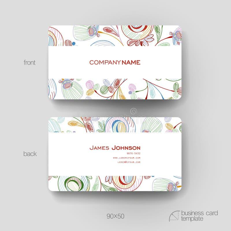 Calibre de vecteur de carte de visite professionnelle de visite avec le fond abstrait floral illustration stock