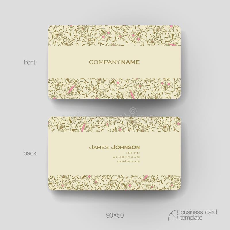 Calibre de vecteur de carte de visite professionnelle de visite avec le fond d'ornement floral illustration stock