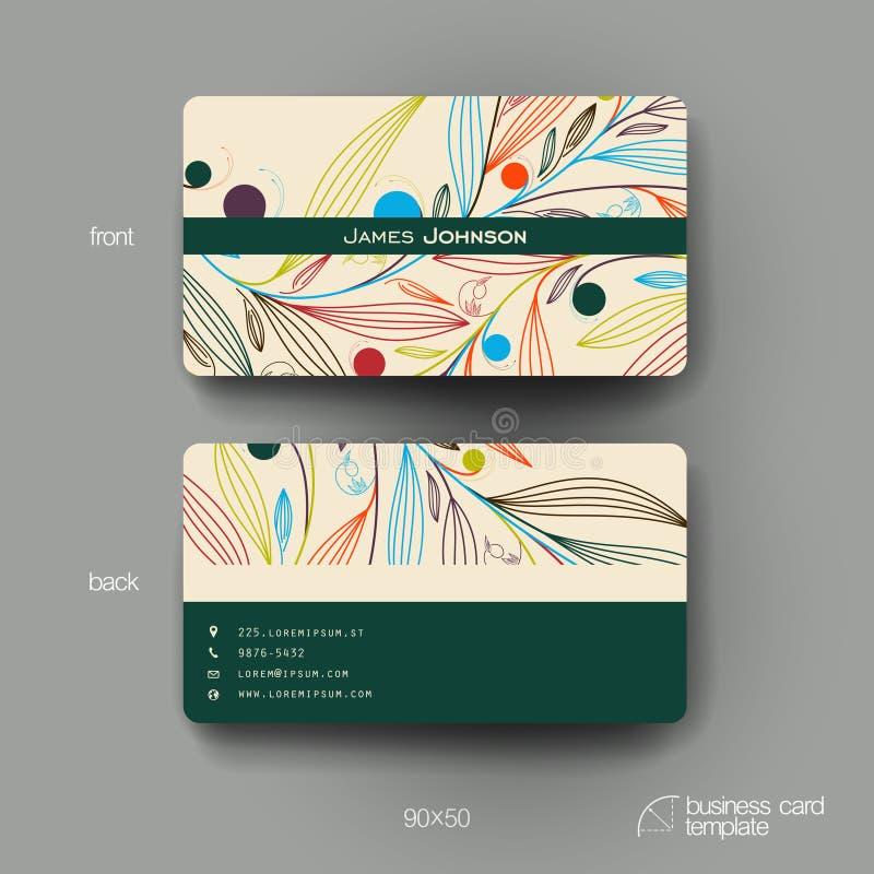 Calibre de vecteur de carte de visite professionnelle de visite avec le fond d'ornement floral illustration libre de droits