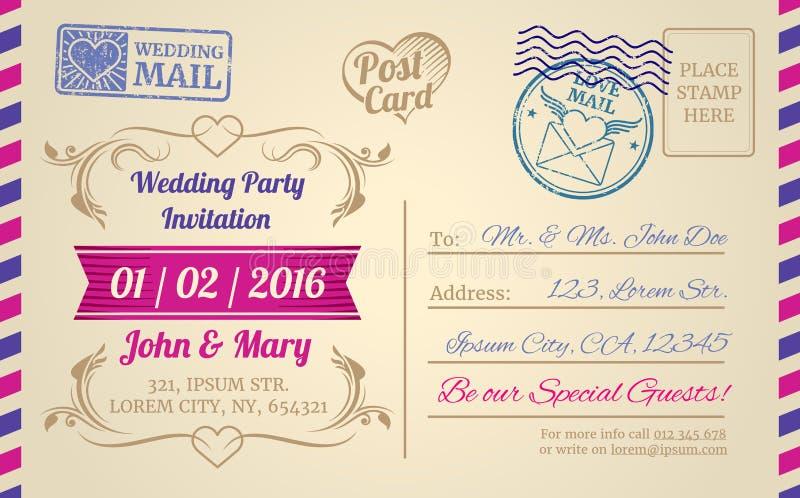 Calibre de vecteur de carte postale de vintage pour épouser l'invitation, lettre d'amour, jour de valentines illustration stock