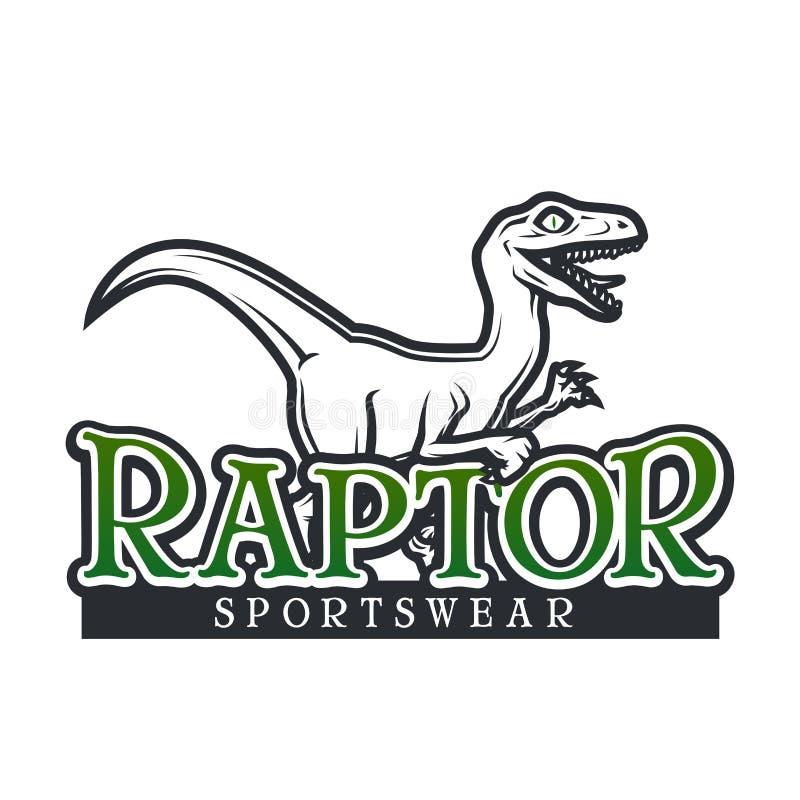 Calibre de vecteur de Dino Logo Conception de logotype de mascotte de sport de Raptor Insigne de sport de lycée de vintage T-shir illustration stock