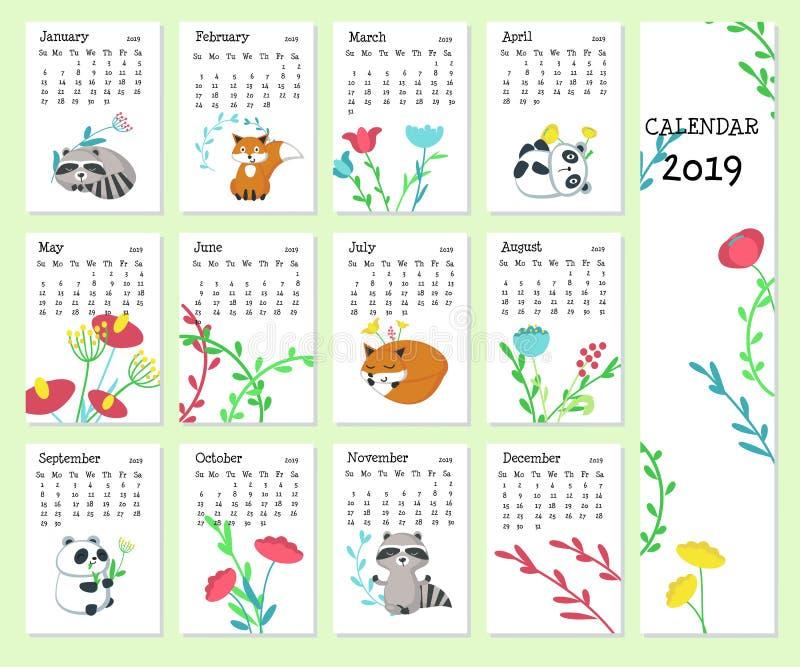 Calibre de vecteur du calendrier 2019 avec les animaux mignons illustration stock