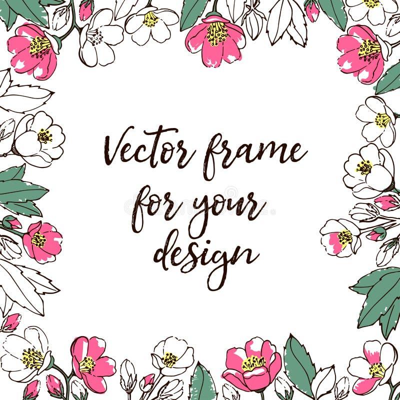 Calibre de vecteur de fleur Avec l'espace pour le texte illustration stock