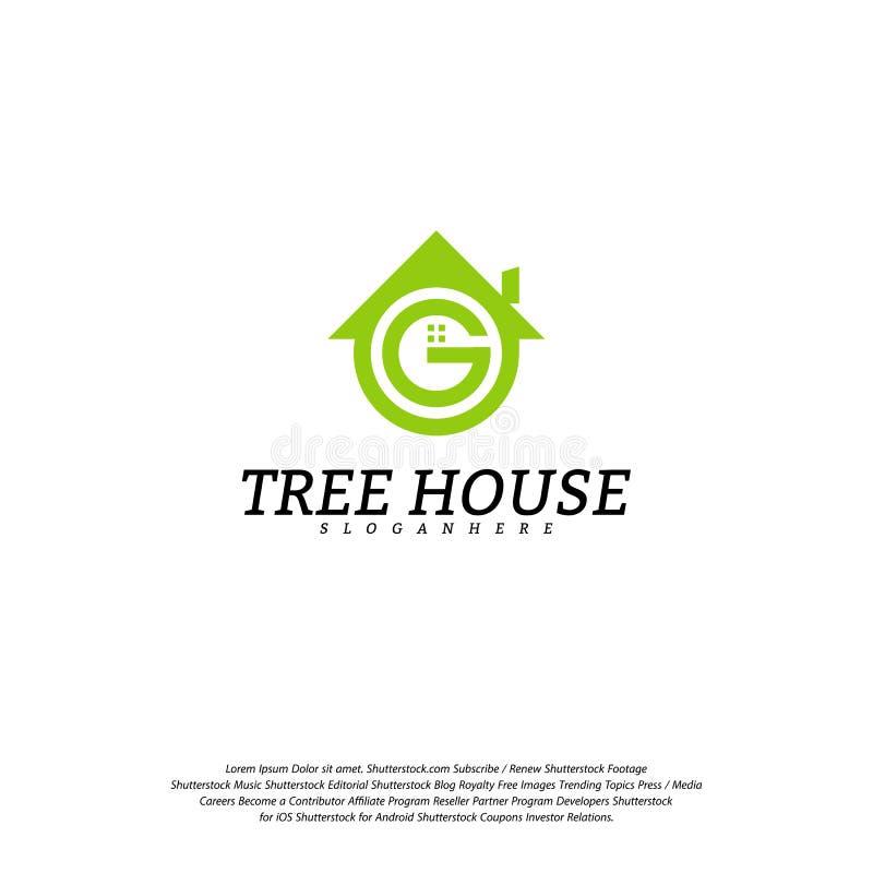 Calibre de vecteur de logo de cabane dans un arbre Logo de maison de feuille illustration de vecteur