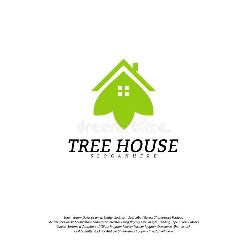 Calibre de vecteur de logo de cabane dans un arbre Logo de maison de feuille illustration stock
