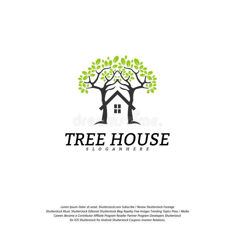Calibre de vecteur de logo de cabane dans un arbre Logo de maison de feuille illustration libre de droits