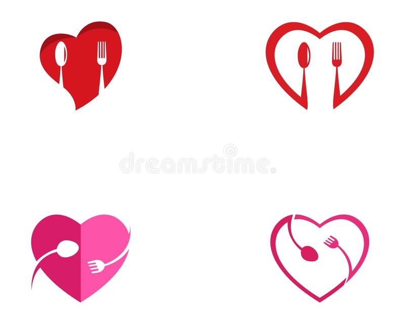 Calibre de vecteur de logo de nourriture d'amour illustration de vecteur