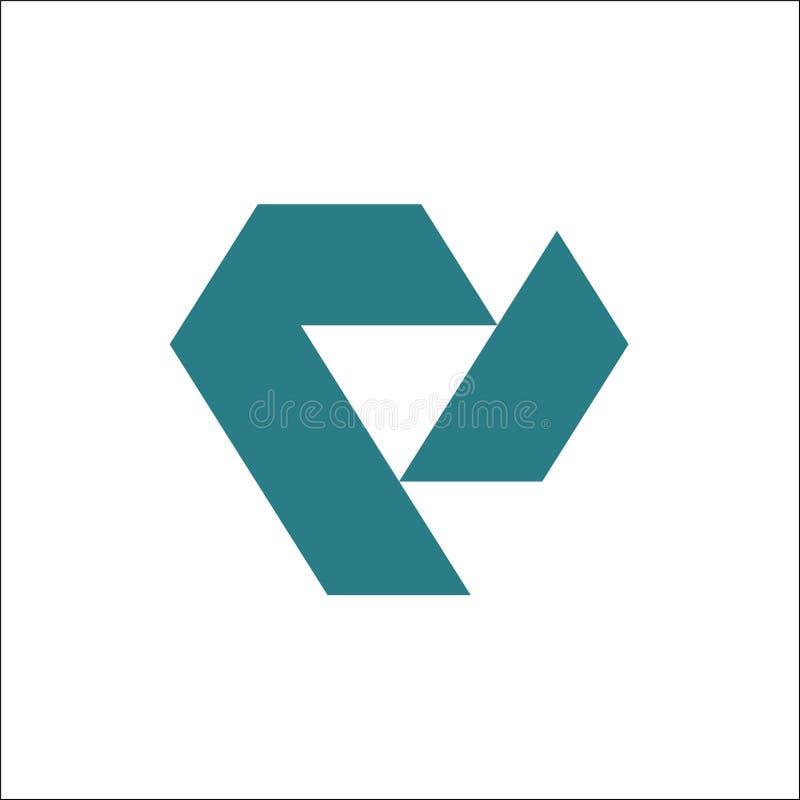 Calibre de vecteur de logo de triangle de V illustration de vecteur
