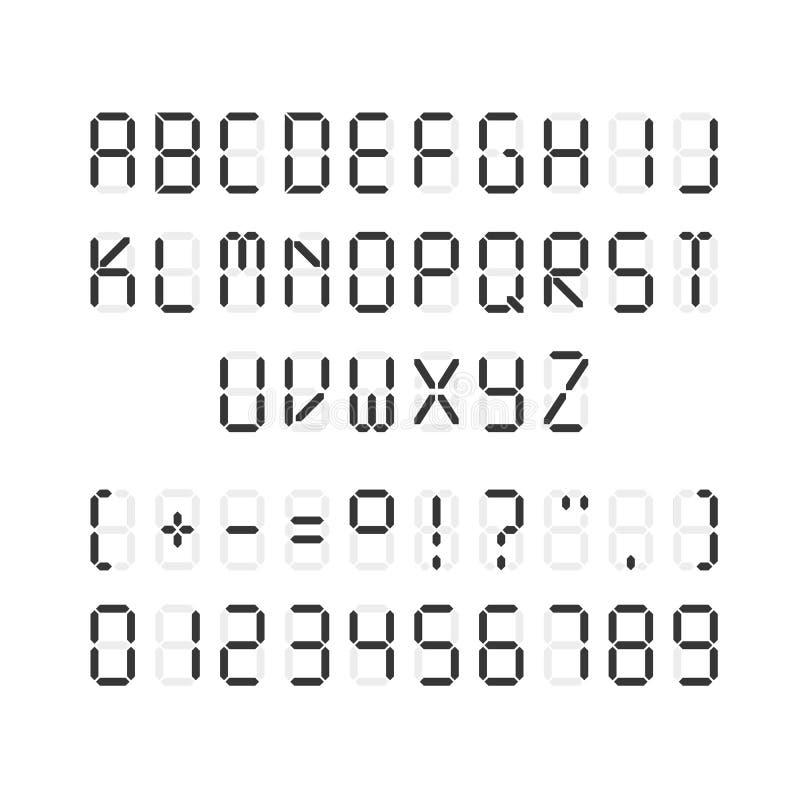 Calibre de vecteur de police numérique noire Illustration des lettres et des chiffres avec des signes de ponctuation sur le fond  illustration stock