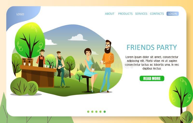 Calibre de vecteur de site Web de page d'atterrissage de partie d'amis illustration libre de droits