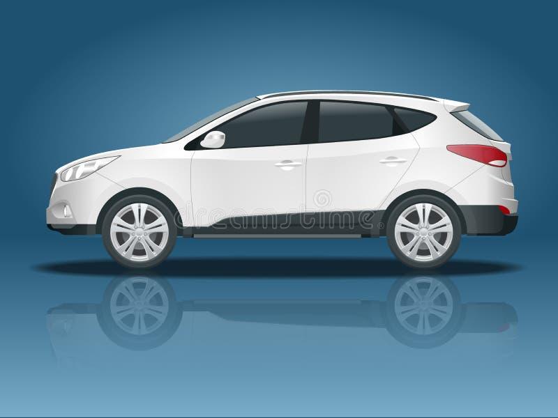 Calibre de vecteur de voiture sur le fond blanc Croisement compact, CUV, voiture de chariot de station de 5 portes Vecteur de cal illustration libre de droits