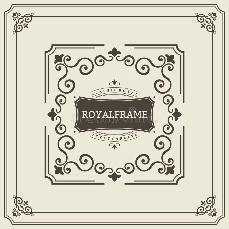 Calibre de vue de vecteur Carte de voeux d'ornement de vintage Les Flourishes ornementent la rétro invitation de luxe royale, cer illustration libre de droits